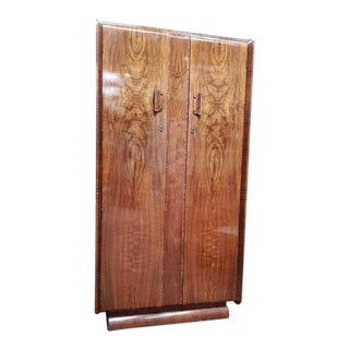 C.1930's Deco Walnut Fitted Armoire. Uk Import For Sale