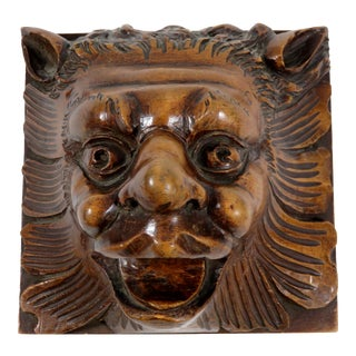 Antique Interior Architectural Carved Wood Lion For Sale
