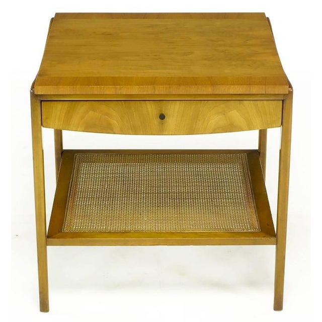 Pair Widdicomb Bleached Walnut & Cane Single Drawer End Tables - Image 6 of 10
