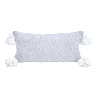 Moroccan Grey Cotton Lumbar Pillow For Sale