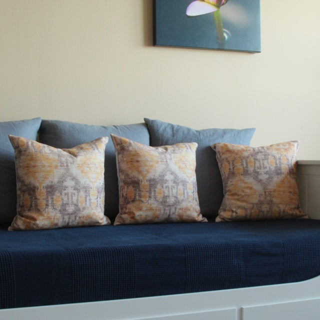 Yellow Vintage Ikat Print Pillows - A Pair For Sale - Image 4 of 6
