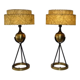 Atomic Torchiere Lamps With Two-Tier Fiberglass Shades - a Pair For Sale