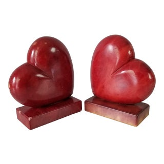 1980s Italian Red Alabaster Bookends a Pair For Sale