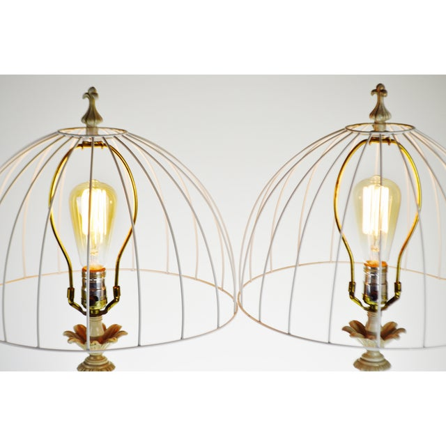 Metal Vintage Metal Candlestick Table Lamps With Metal Cage lamp shades - a Pair For Sale - Image 7 of 12