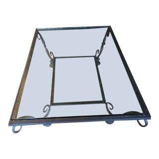 Modern Gray Metal & Glass Coffee Table