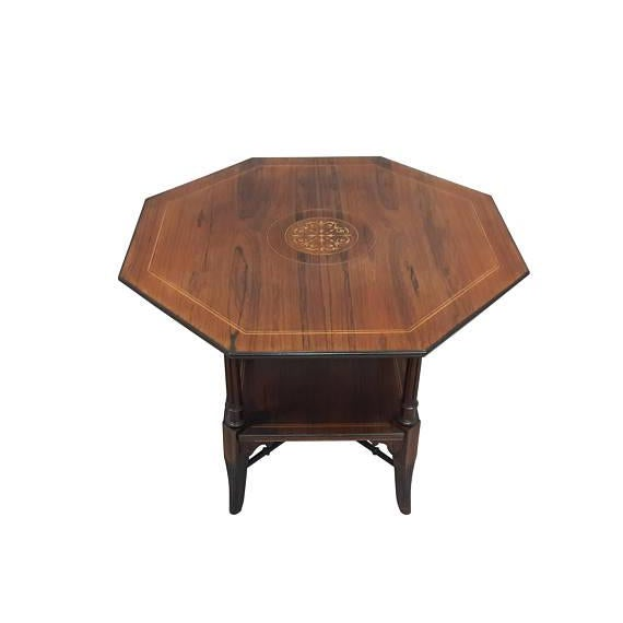 English Inlaid Rosewood Table A - Image 9 of 9