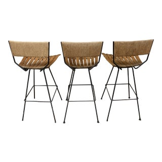 1950s Vintage Arthur Umanoff Bar & Barstools - Set of 4 For Sale