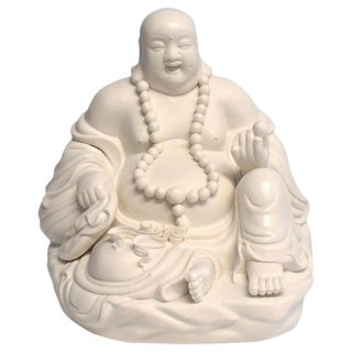 Chinese Blanc De Chine White Porcelain Sculpture of Happy Buddha For Sale