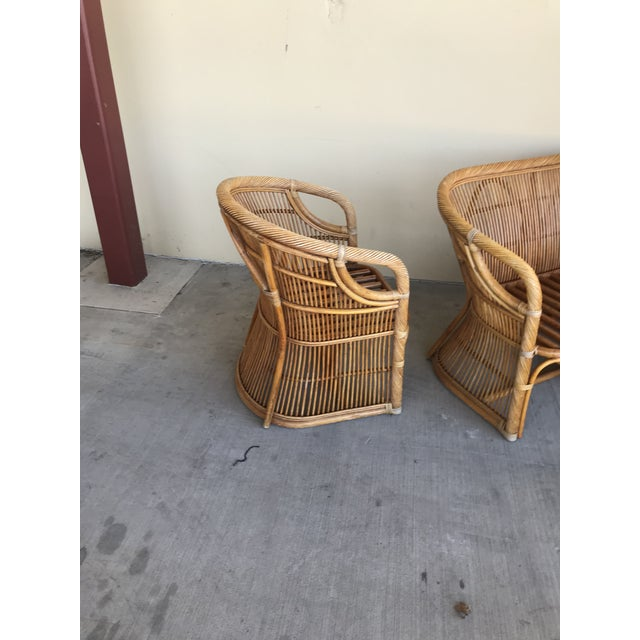 Mid Century Italian Rattan and Bamboo Chairs and Settee- 6 Pieces For Sale In Dallas - Image 6 of 11