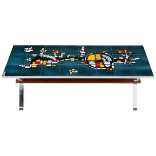 Italian Chrome and Ceramic Tile Top Coffee Table, Signed, Circa 1960 For Sale