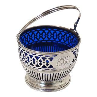 Antique Sterling Silver & Cobalt Glass Serving Basket For Sale