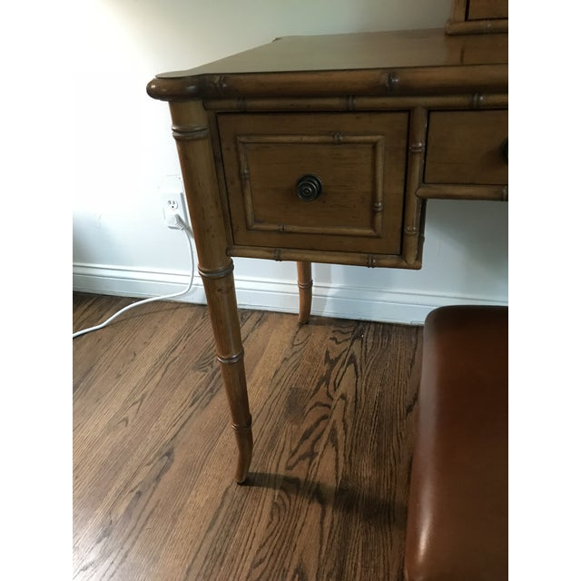Late 20th Century Vintage Ethan Allen British Colonial Chinese Chippendale Faux Bamboo Desk Vanity For Sale - Image 5 of 13