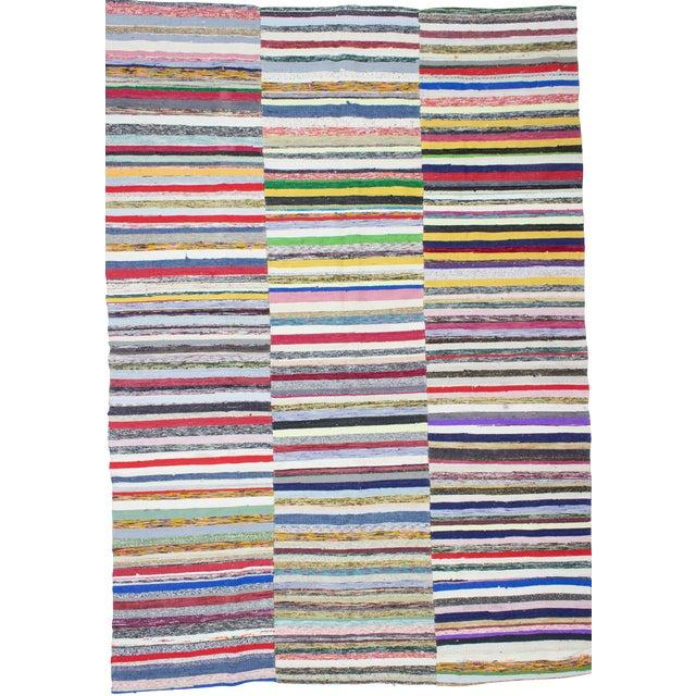 1960s Vintage Striped Turkish Rag Rug - 7′9″ × 11′ For Sale