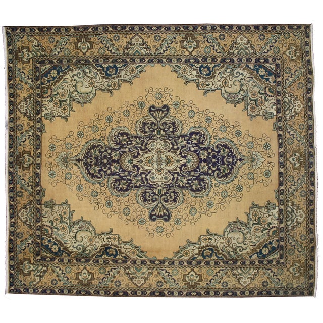 Vintage Persian Tabriz Rug With Neoclassical Glamour, 9'10 X 11'2 - Image 1 of 6