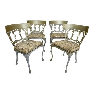 Mid Century Molla Cast Aluminum French Regency Style Chairs- Set of 4 For Sale