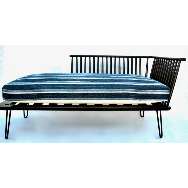 African Mid-Century Modern Daybed Settee With African Upholstery For Sale - Image 3 of 9