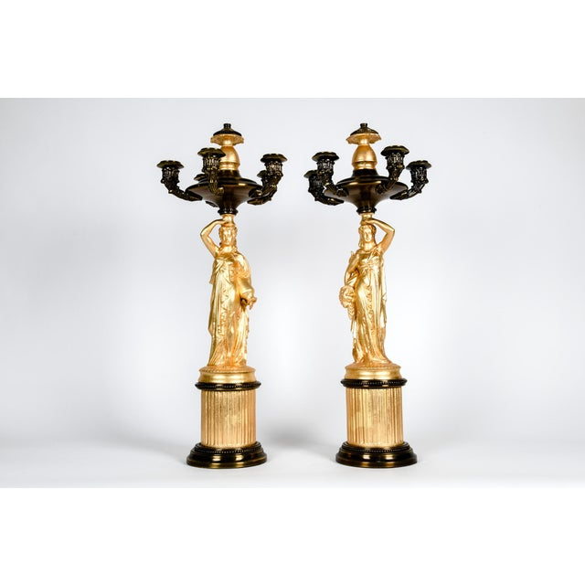 Antique French Five Arms Bronze and Porcelain Candelabras - a Pair For Sale - Image 10 of 13