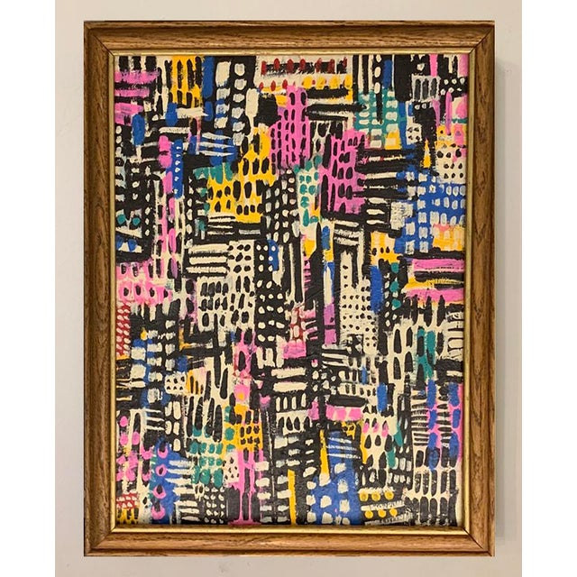 This colorful mid-century inspired acrylic painting is framed in a vintage wood frame with gold accents. 13 in. wide x 16...