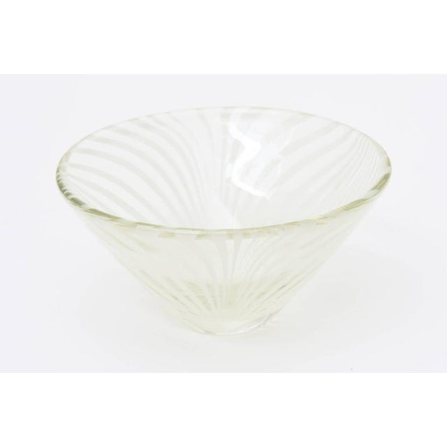 Sculptural Optical Swirled Glass Bowl For Sale - Image 9 of 10