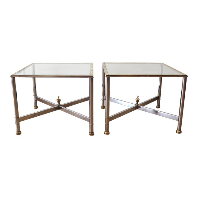Vintage French Brass, Chrome & Glass Side Tables - A Pair For Sale