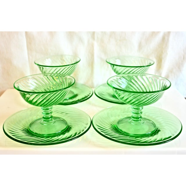 Cottage 1940s Green Glass Coupe & Saucers - Set of 4 For Sale - Image 3 of 5