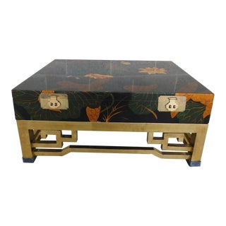 Maitland Smith Chinoisere Decorated Lacquered Cocktail Coffee Table For Sale