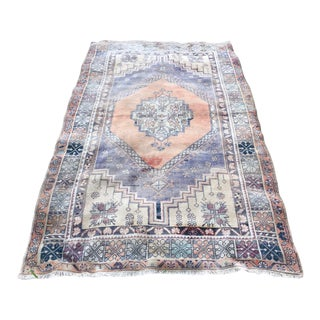 Turkish Vintage Faded Oushak Rug For Sale