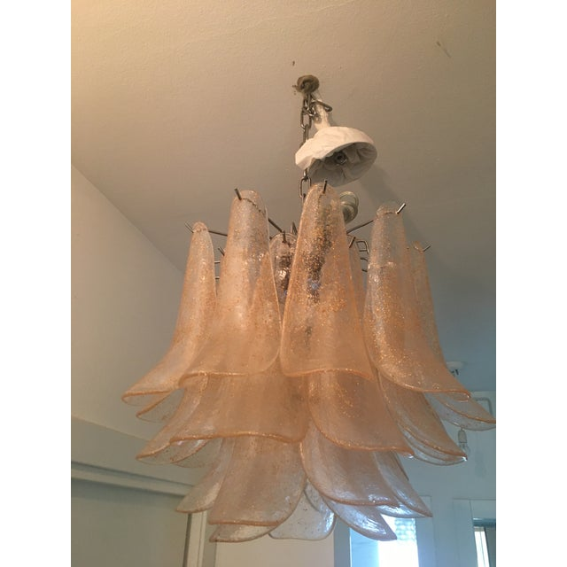 Contemporary Italian Sella Gold and Transparent Chrome Metal Frame Murano Glass Chandelier For Sale - Image 3 of 5
