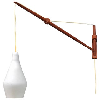 1960s Rare Finnish Teak Fishing Rod Arc Wall Sconce Lamp by Lisa Johansson-Pape For Sale