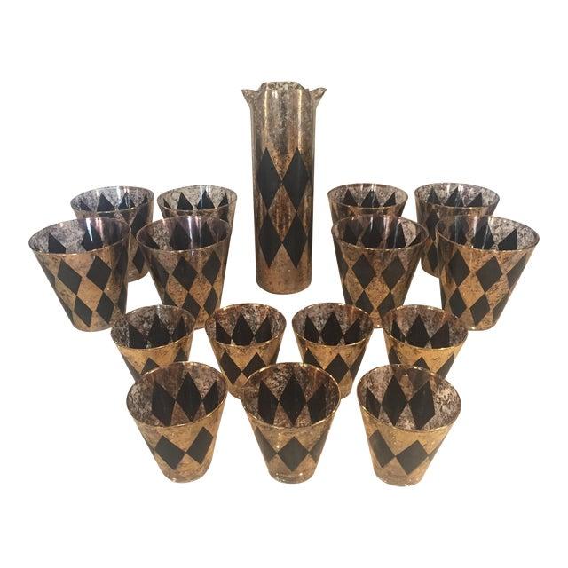 Mid-Century Modern Black & Gold Diamond Cocktail Glasses & Pitcher- Set of 16 For Sale