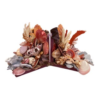 Seashell-Encrusted Bookends - A Pair For Sale