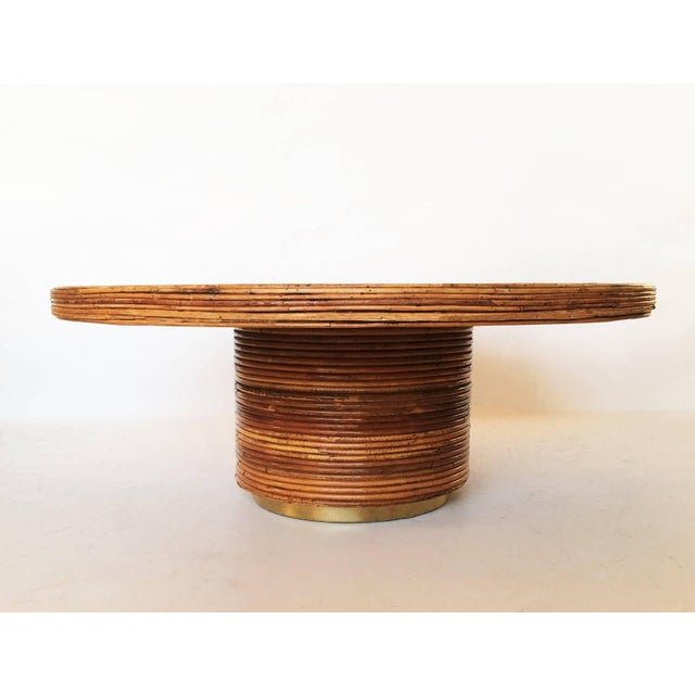 Mid-Century Modern Bamboo and Brass Table For Sale - Image 3 of 7