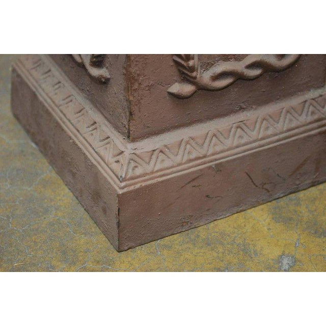 Brown Neoclassical Cast Iron Pedestals or Urns - a Pair For Sale - Image 8 of 10