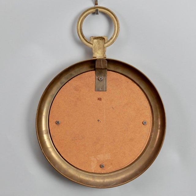 Small French Mid Century Brass Pocket Watch Wall Mirror For Sale In Detroit - Image 6 of 7