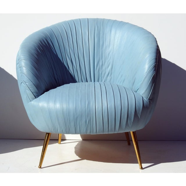 Italian Leather Lounge Chairs - A Pair - Image 3 of 7