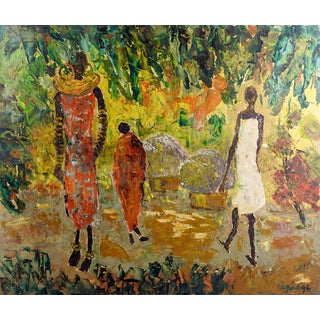 Expressionist African Village Painting For Sale
