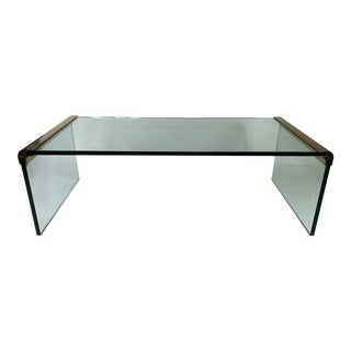 Mid Century Leon Rosen for Pace Collection WaterFall Glass & Brass Cocktail Table For Sale
