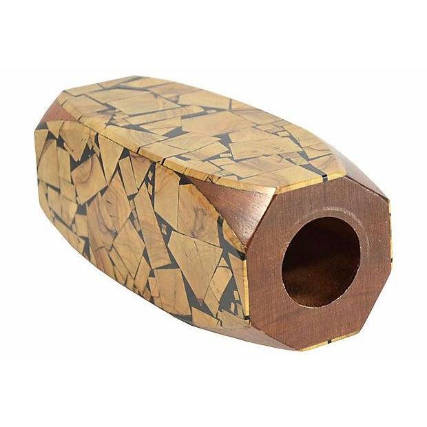Brutalist 1960s Brutalist Mosaic Wood Vase For Sale - Image 3 of 7