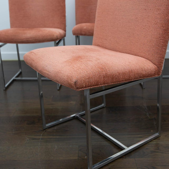 Mid-Century Modern Set of 4 Milo Baughman Style Dining Chairs For Sale - Image 3 of 10