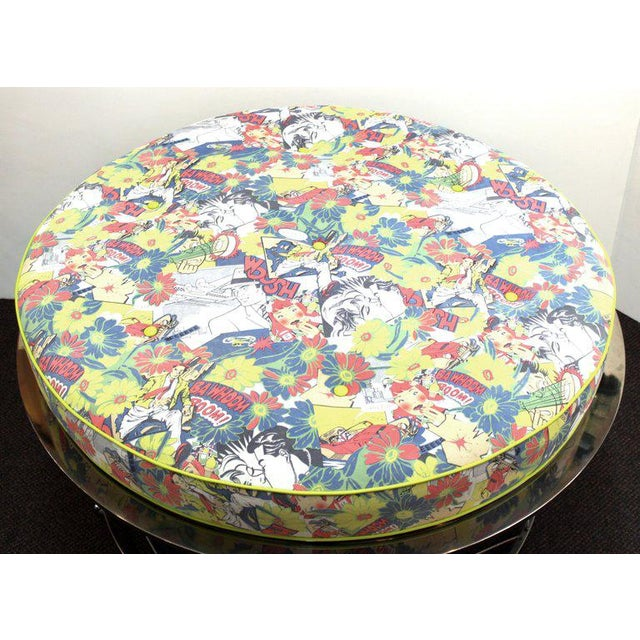 Pop Art Mid Century Vintage Chrome Frame Ottoman With Pop Art Embossed Leather Upholstery For Sale - Image 3 of 10