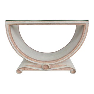 Gabriella Crespi Style Reed and Faux Painted Marble Console Table or Dining Base For Sale