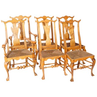 Six Chippendale Style Tiger Maple Dining Chairs For Sale