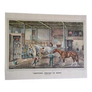 1950s Trotting Cracks at Home Currier & Ives Print For Sale