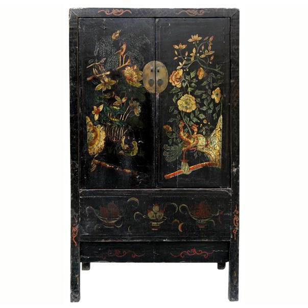 19th Century Chinoiserie-Style Black Elm Cabinet For Sale - Image 11 of 11