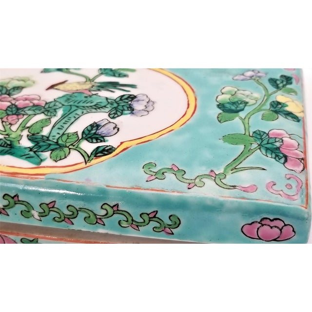 Vintage Light Blue Chinese Famille Rose Porcelain Box With Flowers and Phoenix - Asian Oriental Palm Beach Boho Chic Mid Century For Sale - Image 9 of 12