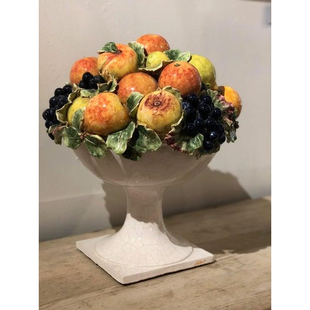 Italian Italian Majolica Ceramic Fruit Basket Centerpiece For Sale - Image 3 of 11
