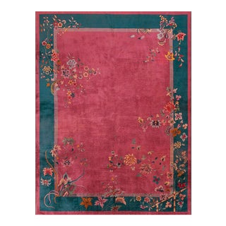 """1920s Antique Chinese Art Deco Rug-9'0"""" X 11'10"""" For Sale"""