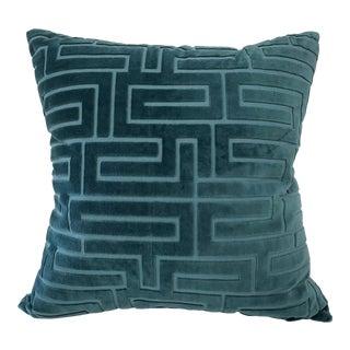 Dark Teal Raised Velvet Pillow With Geometric Pattern For Sale