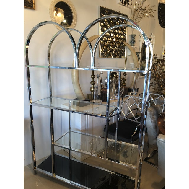 Vintage Arched Chrome Glass Display Shelf Shelves Etagere For Sale - Image 10 of 13