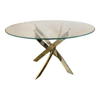 Bontempi Casa Barone Glass + Chrome Sabre Dining Table For Sale